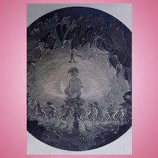 ANTIQUE Art PRINT-TYPOGRAVURE-Puck-Fairy-Fairies-Dream-Shakespeare-Nymphs