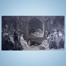 Hamlet etching Print  by C. Rolls for Virtue's Imperial Shakespeare  1873
