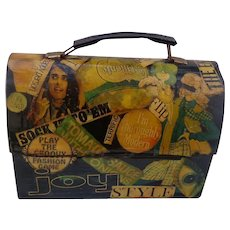 1968 Shabby Chick Hippie  decoupage Lunch Box - Red Tag Sale Item