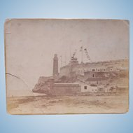 Albumen Photo of Fort Morro Cuba w/ American Flag War of 1898