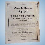 Daguerreotype Photographers Broadside  John L.Gihon Photographer Philadelphia