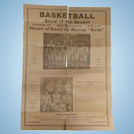 House of David Basketball Team Broadside Poster with Tiny Reichert 8 Foot Giant ! Eton,Ohio