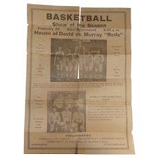House of David Basketball Team Broadside Poster with Tiny Reichert 8 Foot Giant ! Eton,Ohio