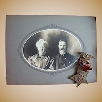 Wautoma,Wisconsin Civil War GAR Photo of Gus & Eva Robinson with actual GAR Medal