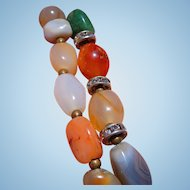 Natural Polished Stone Necklace with Swarovski diamonds