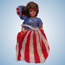 1941 World War 2 Miss Liberty Doll with Hand-Made Stars & Stripes Dress