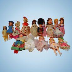 Collection of Vintage International Culture  Dolls Celluloid Bisque