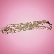 Biwa Freshwater Pearl 5 Strand Necklace c.1930's
