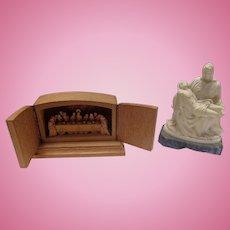Hand Carved Last Supper OBERAMMERGAU EICH & Michelangelo's Pieta