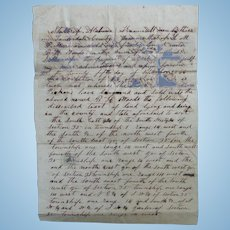 Lauderdale County,Alabama Land Deed between LeRoy Madison Pickens & B.H.Woods 1866 w/Revenue Stamps