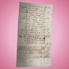 John G.Pickens Lauderdale Coutnty,Alabama 1832 Sales Receipt for Savage & Davis