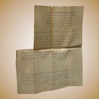 Daniel Cherry Revolutionary War Land Grant Hardin County,Tn 1823 Signed by Tennessee Governor William Carroll