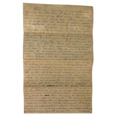 GREAT 19th c.American Pioneer Immigrant Letter Ruthless People and Heartless Indians Hardin County,Tn