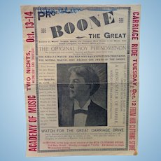Magic Show Broadside Boone The Great & The Witch of Endor Norfolk,Va, 1897