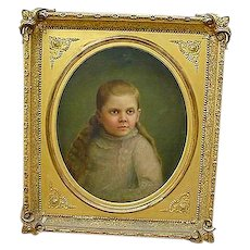 Gordonsville,Va. Civil War era Painting of Girl with Haunting Blue Eyes...Iverness Plantation - Red Tag Sale Item