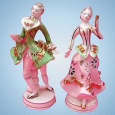 Dresden Porcelain Multi-Colored Dancing Figures Pre-World War 2