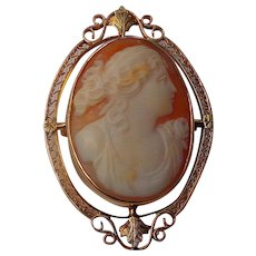 Edwardian 10kt. Cameo Brooch with Deep rich colors - Red Tag Sale Item