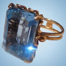 Estate 18k Italian Synthetic Spinel Ladies ring Striking Aquamarine Color