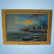 Oil Painting New York City Harbor by Akos Biro Noted French Painter