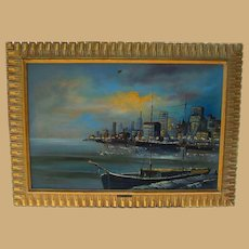 Oil Painting New York City Harbor by Akos Biro Noted Hungarian Painter