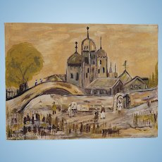 Primitive Oil Painting of Syrian Syria Village Raas Al-Nabea