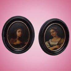 Fine Baroque period portraits on board