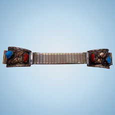 Watch Band Sterling Silver A. VANDERVER Navajo Handcrafted Turquoise Coral Native.