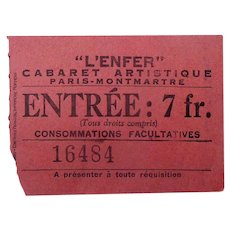 Exceedingly rare original ticket for the Hell Nightclub of Paris c.1895.