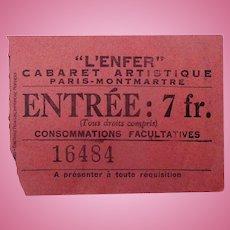 Exceedingly rare original ticket for the Hell Nightclub of Paris c.1895.