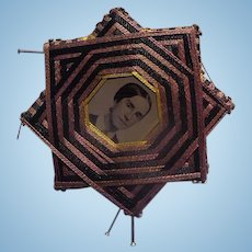 Unusual Victorian  Folk Art Tintype Photographs Pin Cushion