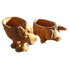 Lee Bortin Clay Sculptures Unusual Examples of a  Groovy Hippo and Pig