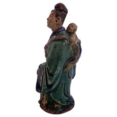 Early c.1910 Large Chinese Mud Figure Chinese Mother Carrying Baby - Red Tag Sale Item
