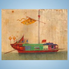 Mandarin Boat from eastern seas of China, Painted on silk by unknown artist, 19th century