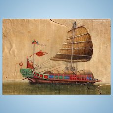 Vietnamese Dong Song Boat from eastern seas of China, Painted on silk by unknown artist, 19th century