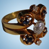 AMAZING Victorian 18kt. Gold Diamond Ring with Blue Sapphires