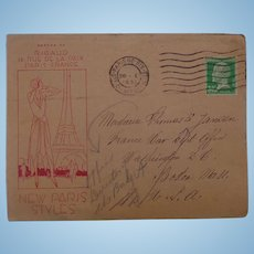 1931 Paris,France New Paris Styles Postal Cover Cancelled Washington D.C. France War Department