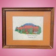 c.1940's Folk Art Cross-Stitch of Grove Park Inn,Asheville,NC
