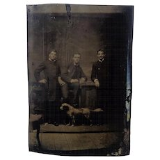 Three Men and a Dog Tintype Photograph