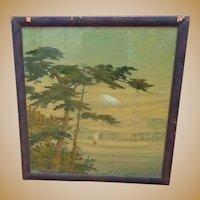 Large Antique Landscape of Mt. Fuji on Linen,Japan in Original Frame