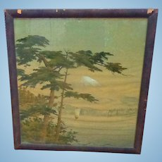 Large Antique Landscape of Mt. Fuji on Linen,Japan in Original Frame