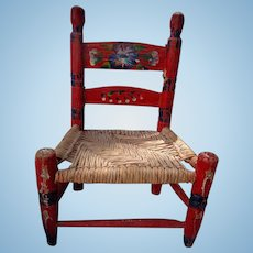 Beautiful old Decorative  hand painted Child's Chair with woven seat