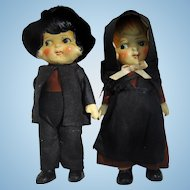 Old  and Adorable Amish Porcelain Dolls with Hats