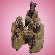 Two Wise Chinese Mud Men Pre-WW2 Handmade Carvings