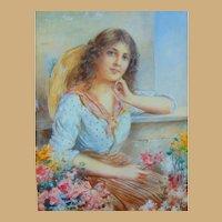 William Joseph Carroll, (1842-1902) Gorgeous Portrait of Lady in Floral Garden