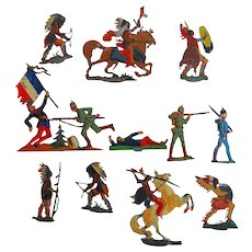 Early Franco-Prussian and Native American Toy Lead Soldiers and Indians