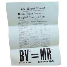 Miami Florida Dade County Negro Precincts Voting Results 1964 Leaflet