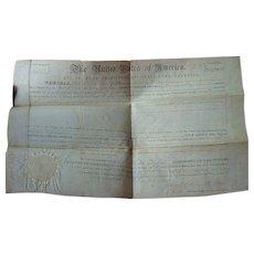 Millard Fillmore Signed Columbia County Florida Land Grant 1852