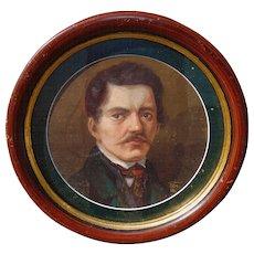 1886 Self Portrait of Artist in unique Circular Frame