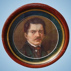 1886 Self Portrait of Artist in unique Circular Frame