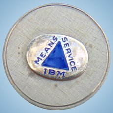 """IBM 1/10 10k Gold Lapel Hat Tie Pin """"IBM Means Service"""" Award Pin"""